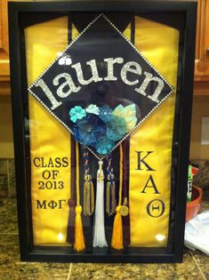 Love this layout - need to shadowbox my grad gear!!