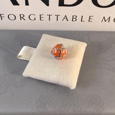 Pandora Orange enamel butterfly Authentic in like new condition. Pandora Jewelry Bracelets