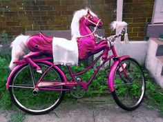 Wouldn't it be awesome to see this parked in your backyard everyday? Pink Horse Bike <3