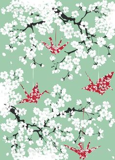 Fabric by Johanna_design - cherryblossom - Origami peace cranes with decorative flowery patterns hanging in a blooming cherrytree - blossom mania!