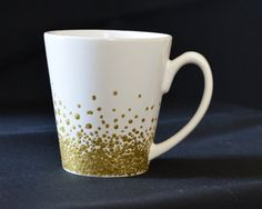 Gold painted coffee mug  Gold dots by EverydaySummit on Etsy, $14.00