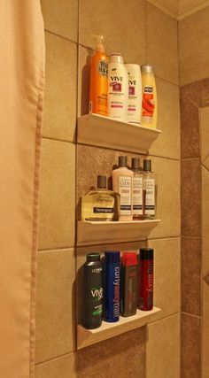 Bathroom Tile Storage - so much simpler than nooks between studs!