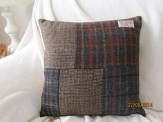 Genuine Harris Tweed Cushion : A Patchwork Design in Complementing Colours    The Cushion Back is a Biscuit Colour.    Size 43cm x 43cm - 17 x