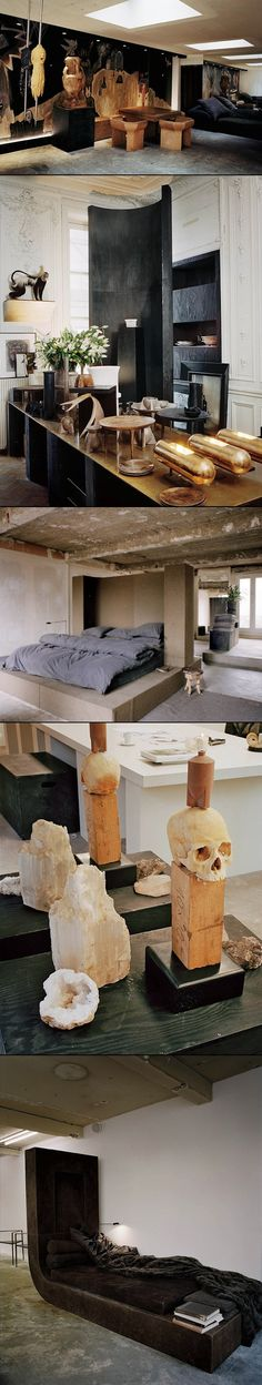 paris home of rick owens and michele lamy -