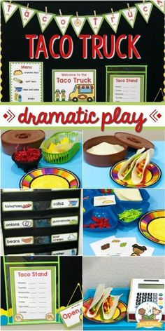 Taco truck dramatic play theme printables for your dramatic play center in pre-k and preschool. Infuse your pretend play center with learning and fun! Dramatic Play Themes, Dramatic Play Area, Dramatic Play Centers, Preschool Dramatic Play, Preschool Centers, Preschool Classroom, Preschool Activities, Teaching Kindergarten, Summer Activities