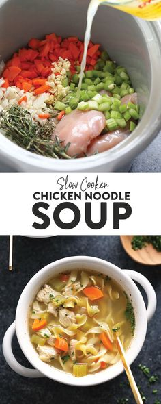 Slow Cooker Chicken Noodle Soup - Fit Foodie Finds - MEAL PREP Recipes - Need a hot soup that warms the soul and is the perfect remedy when under the weather? Make our Slow - Crock Pot Recipes, Slow Cooker Recipes, Cooking Recipes, Chicken Breast Recipes Slow Cooker, Crock Pots, Slow Cooking, Crockpot Chicken Noodle Soup, Chicken Soup Recipes, Chicken Cooker