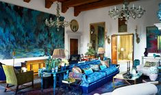 Here, see how Hubert Zandberg restored a sprawling estate in the Italian countryside—without going over the top. #Italiandesign #maximalism #countrysidedesign #classicdesign #traditionaldesign #cubism #livingroom Anglepoise Lamp, Color Plan, Guest Bedrooms, Elle Decor, Room Decor, Interior Design, 16th Century, Living Rooms, Living Room Colors