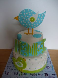 vanilla cake with buttercream frosting covered with fondant. The birds ...