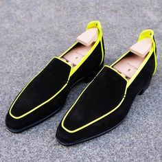 Corthay Brighton - Black Suede / Neon Yellow Binding – Mehra Low Heel Shoes, Suede Shoes, Loafer Shoes, Men's Shoes, Shoe Boots, Shoes Jordans, Shoes Style, Shoes Sneakers, Loafers Outfit