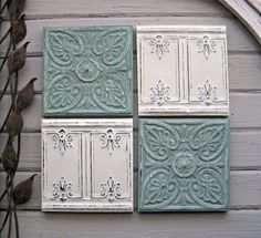 Group of Vintage Tin Ceiling Tiles. by DriveInService on Etsy