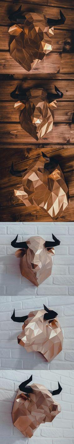 DIY Bull Head 3D model template. Printables #bullhead