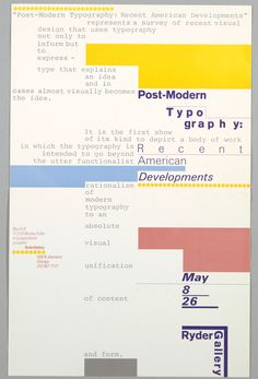 Dan Friedman, Post-Modern Typography: Recent American Developments, Ryder Gallery, Chicago, May ca. Web Design, Book Design, Layout Design, Print Design, Type Design, Cover Design, Modern Typography, Typography Layout, Lettering