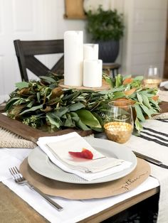 Are you looking for easy and inexpensive Thanksgiving centerpiece ideas? Here are 3 ways to use your existing fall decor as a centerpiece this Thanksgiving. Fall Table Settings, Christmas Table Settings, Holiday Tables, Christmas Tables, Christmas Holiday, Xmas, Thanksgiving Table Runner, Thanksgiving Centerpieces, Wooden Cake Stands