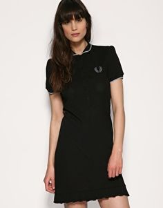 Fred Perry Laurel Round Collar Dress With Beaded Laurel