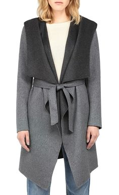 Soia Kyo Samia double face belted light wool coat with hood