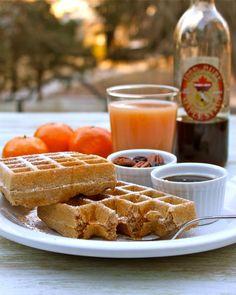Simple Spelt Waffles | ASpicyPerspective.com #breakfast #waffles #spelt