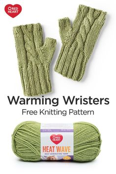 Warming Wristers free knit pattern in Red Heart Heat Wave yarn. Warming Wristers free knit pattern in Red Heart Heat Wave yarn. Fingerless Gloves Knitted, Knit Mittens, Knitting Socks, Free Knitting, Baby Knitting, Knitting Wool, Beginner Knitting Projects, Easy Knitting Patterns, Crochet Patterns