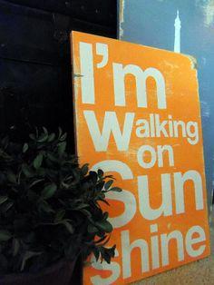 Typography Wood Sign- I'm Walking On Sunshine Orange Wall Decor. $60.00, via Etsy.