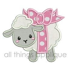 Lamb With Bow Applique - 4 Sizes! | What's New | Machine Embroidery Designs | SWAKembroidery.com All Things Applique
