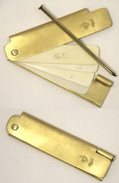 Brass and Ivory Pocket Notebook - Based on an original that Jefferson owned. These are made of sturdy brass stock with 4 old ivory pages and a pencil. Use this for making notes in the field and just erase with a wet finger when you are done. Folds up into a nice small package 1-1/8 inches by 4-1/2 inches by 3/16 inch thick.