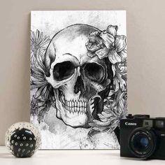 placa flower skull 20x29
