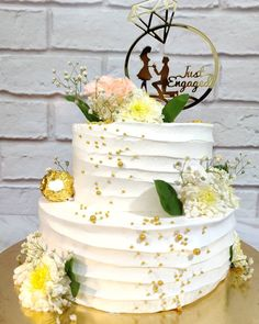 2 Tier Ring Ceremony Engagement Cake Engagement Cake Design, Engagement Decorations, Engagement Cakes, 2 Tier Cake, Tiered Cakes, Chocolate Cake Designs, Crisco Recipes, Ring Cake, Just Engaged