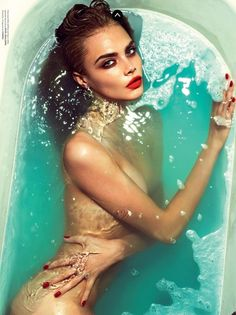 Submerged – Mert Alas Marcus Piggott for Love Magazine, model cara delevingne, cyan, water, beauty
