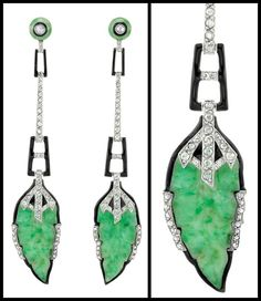 Art Deco jade, enamel, and diamond earrings with detail. Via Diamonds in the Library.