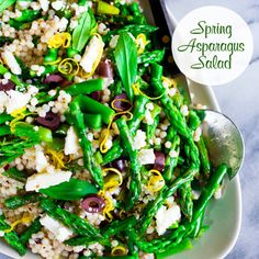 Spring Asparagus Salad - Preheat oven to 425˚ F.  Drizzle olive oil on 1 bunch of trimmed asparagus. Sprinkle w/salt & pepper and zest from 1/2 a lemon. Roast until tender, about 20-25 min. Cut into pieces. Cook 2c Israeli Cous Cous until al dente.  For dressing- combine 1/3c olive oil, 3tbsp mustard, 2tbsp red wine vinegar, 2tbsp lemon juice and a tsp each of salt & pepper. In a large bowl toss cous cous w/dressing, 1/2c kalamata olives, 1/2c feta, asparagus & handful of fresh mint. Enjoy!