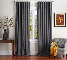 colors I like: Charcoal, gray, and sable!! Emery Linen/Cotton Drape   Pottery Barn
