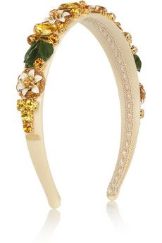 Dolce & Gabbana Yellow and Amber colored Swarovski crystal-embellished silk covered brass headband with hand-painted acetate flowers | NET-A-PORTER