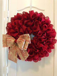 X-Large Christmas Burlap Wreath with Merry Christmas Bow