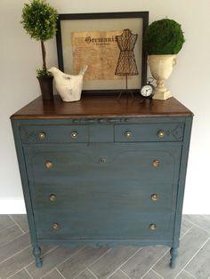 ASCP 50/50 mix of Aubusson Blue & Graphite w/ dark wax   Repairing a Dresser — Vintage Refined