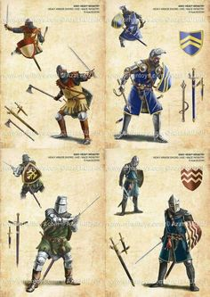 I love that crazy dual wielding bastard in the upper left corner. Truly a weapon to surpass Metal Gear Medieval Weapons, Medieval Knight, Medieval Fantasy, Medieval Helmets, Armadura Medieval, Fantasy Armor, Fantasy Weapons, Military Art, Military History