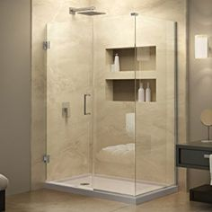 "DreamLine Unidoor Plus 34 3/8 in. D x 46 in. W, Frameless Hinged Shower Enclosure, 3/8"" Glass, Chrome Finish - - Amazon.com"