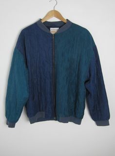 Vintage Men's 1980s 100% Silk Navy & Teal Varsity Bomber Jacket from Virtual Vintage Clothing