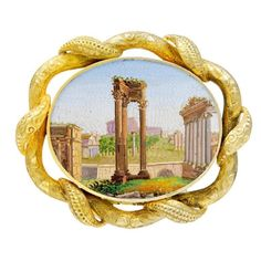 Remarkable Antique Micromosaic Pin of the Forum in Rome 1