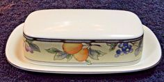 Mikasa Garden Harvest Intaglio Butter Dish with Lid CAC29 EXCELLENT! #Mikasa