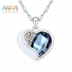 Fashion Promotion Cute Women Pendant Necklaces Collar Collares 2017 Plated Heart Necklace Crystals from Austrian #106447