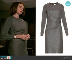 Alicia's grey long sleeved dress on The Good Wife.  Outfit Details: http://wornontv.net/54464/ #TheGoodWife