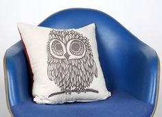 "Screen Printed Owl Pillow Cover 16x16"". $28.00, via Etsy."