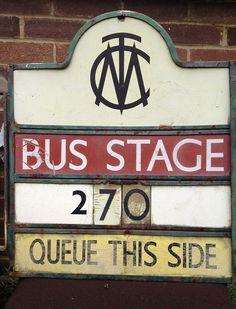 Manchester City Transport bus stop flag, c1965