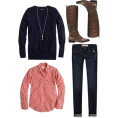A fashion look from November 2012 featuring J.Crew tops, J.Crew sweaters and Abercrombie & Fitch jeans. Browse and shop related looks.