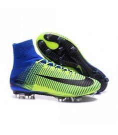 Acheter Nouvelles - Chaussure Nike Mercurial Superfly 5 FG pour Homme Vert Bleu Noir pas cher en ligne 124,00 € sur http://cramponsdefootdiscount.com
