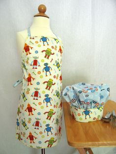 Little boys apron and hat set featuring Robot Factory by Caleb Gray