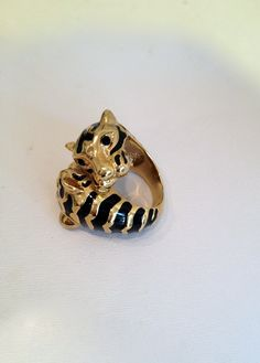 Vintage Double Tiger Black Enamel and Gold Estate Jewelry Ring, via Etsy.