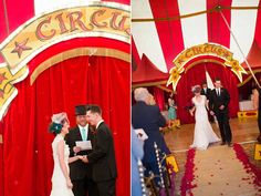 Bright colors, flashing lights, feathers and sequins: what a glamorous combination for a wedding!  Circus themed weddings are perfect for handmade details and DIY accents like marquee light signs and crazy photo booth props.  With fire eaters, carousels, and aerial dancers, this roundup of weddings will have you inspired to run away with the circus!