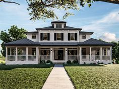 050H-0307: Luxurious Southern House Plan; 4 Bedrooms, 3.5 Baths Modern Farmhouse Plans, Modern House Plans, Farmhouse Bedrooms, Rustic Farmhouse, Modern Architecture House, Architecture Design, Classical Architecture, Suburban House, Southern Plantations