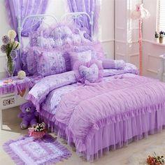 Conjunto del lecho de Corea colcha bedshirt muchachas del estilo hermosa princesa púrpura del cordón falda de la cama edredones ropa de cama de Bohemia compra en AliExpress