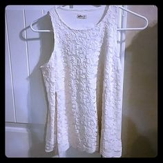 Hollister cold shoulder top Ivory colored long sleeve top with cold shoulder and lace overlay. Super cute, just too small :( NWOT Hollister Tops Blouses